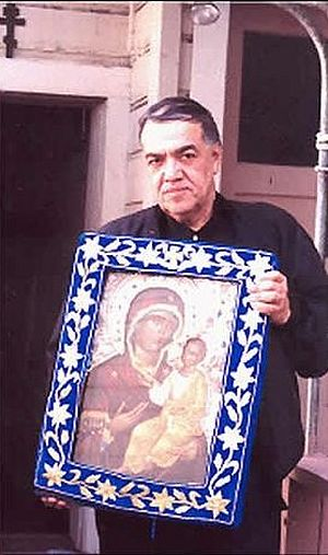 Brother Jose with the myrrhstreaming Icon of the Mother of God.